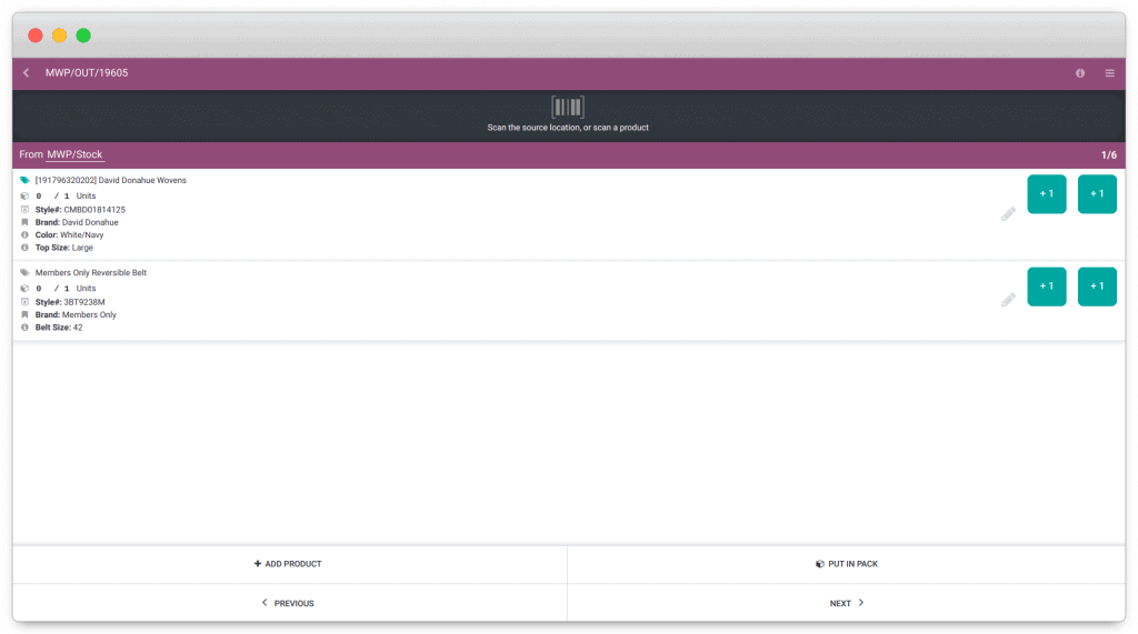 Odoo inventory barcode operations